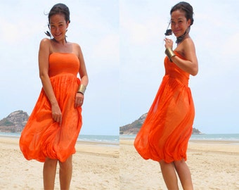 Orange silk chiffon Strapless  Beach evening short Sun dress all size