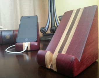 Wood iPhone 5SE and iPhone 7 Stand