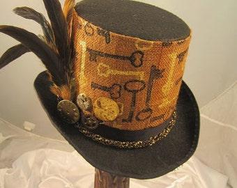 STEAMPUNK TOP HATS, Steampunk Store, Steampunk Emporium, Black, Felt, Clock Parts, Feathers