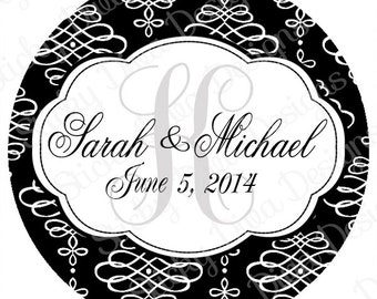 PERSONALIZED STICKERS - Custom Wedding Monogrammed Labels - Wedding Parties-  Gloss Labels