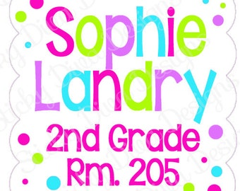 PERSONALIZED STICKERS - School Supplies Personalized Labels -   Back to School - Gloss Labels or Tags