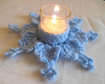 Blue Snowflake votive candle holder
