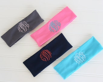 Monogrammed Headband - Soft and Stretchy Headband - Team Gift - Sorority Gift - Bridesmaid Gift- Graduation Gift - Stocking Stuffer