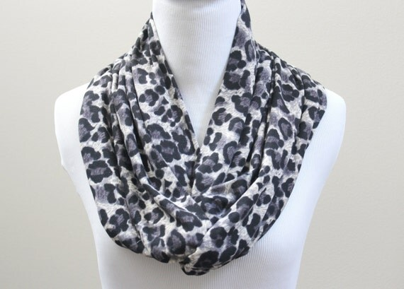 infinity scarf in cheetah print soft jersey knit circle