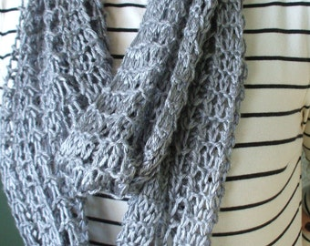 Silver Gray Infinity Scarf Hand Knit Lacy Open Weave Light Weight Fashion Loop Circle Scarf