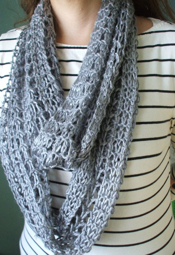 Silver Gray Infinity Scarf Hand Knit Lacy Open Weave Light