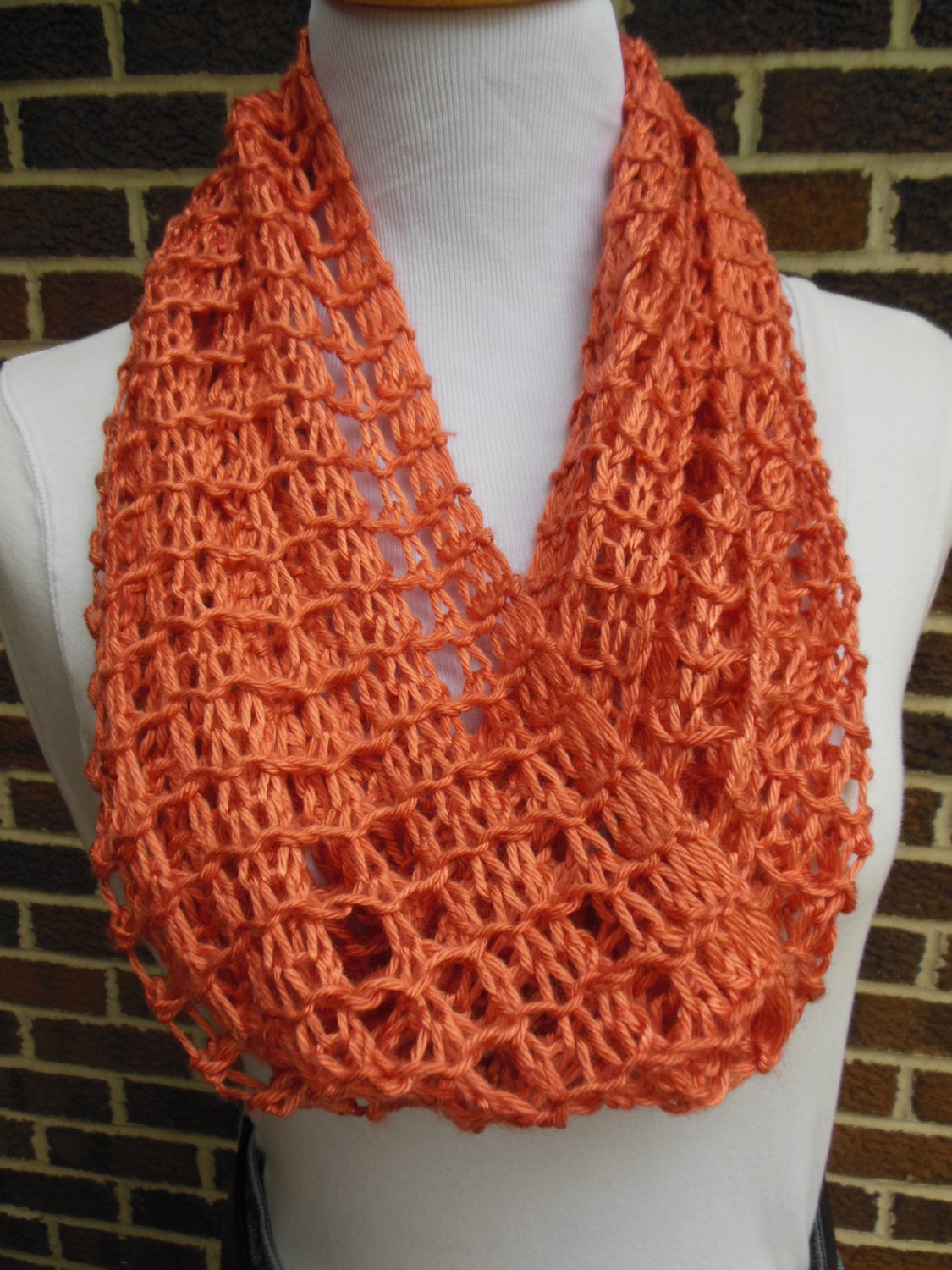Persimmon Rust Orange Infinity Scarf Hand Knit Lacy Light