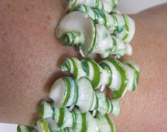 Bracelet  - curly green and white shell elasticated bracelet