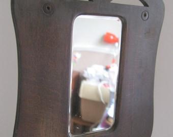 small vintage art nouveau wooden bevel edge mirror