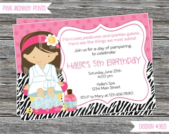 DIY - Zebra and Hot Pink Spa Birthday Party Invitation #365 - Coordinating Items Available