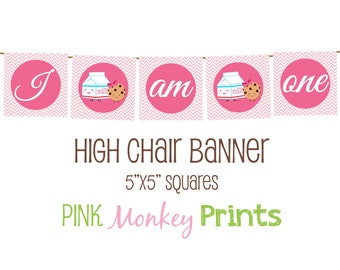 DIY - Girl Milk and Cookies Birthday High Chair Banner #124- Coordinating Items Available