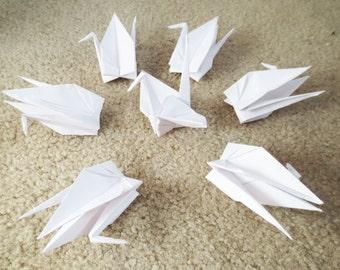 100 Large White Origami Cranes