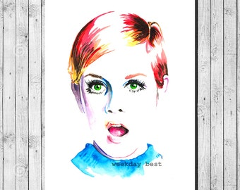 SALE Large TWIGGY colorful print of Original Watercolor Painting 11x14 SALE