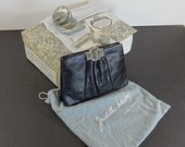 Vintage 1980s Judith Leiber Tile Whipsnake Black Purse-Complete with Box and Accessories