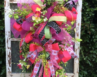 Spring Wreath, Spring Door Swag,Door Swag,  Front Door Wreath, Springtime wreath, Spring door wreath, Spring door decor, door wreath summer