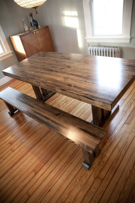 Butcher Block Table Solid Wood Farmhouse Dining