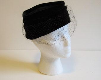 Vintage Black Velvet Dress Hat with veil
