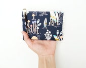 Coin Purse Wallet Money Holder, Whimsical Forest Toadstool Change Bag, Zipper Pouch Coin Change, Blue Zipper Bag Money Pouch