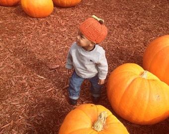 Babies/Toddler/Child Crochet Ribbed Pumpkin Hat (Custom)