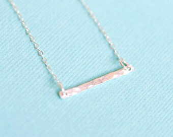 Hammered Gold Filled Or Sterling Silver Bar Necklace