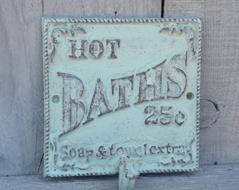 Bathroom Wall Hook Hot Bath Sign Mint Bathroom Wall Decor Powder Room