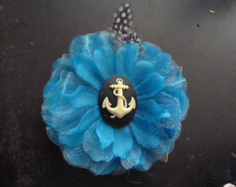 DARLING handmade lace large flower barette with an anchor cameo center