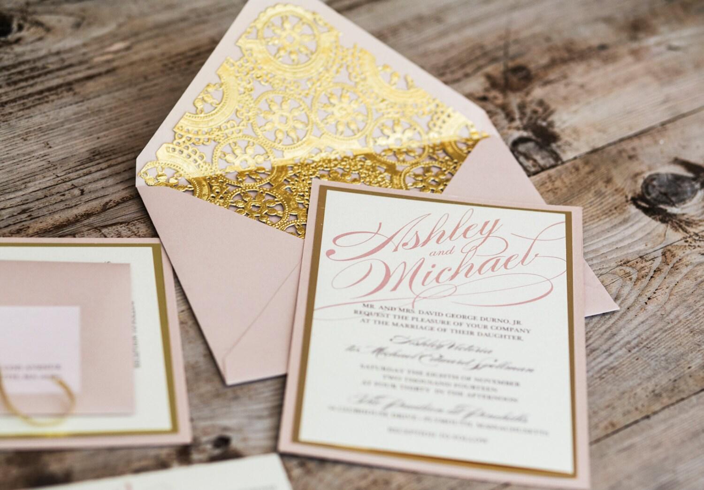 Blush And Ivory Wedding Invitations: Blush And Gold Wedding Invitation Blush & Lace Wedding