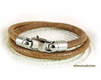wrap bracelet for men brown stainless steel - toasted almond - nappa men's bracelet - for him - his - used look