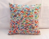Silk Pillow Cushion Cover,  Decorative Multicolor Floral Envelope Style Pillow Cover, Fits a 12 x 12 Insert