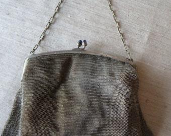 German Silver Mesh Evening bag