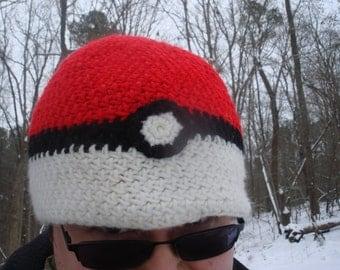 Pokeball inspired crocheted Pokemon Beanie