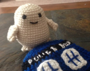 Doctor Who Inspired Crocheted Baby Tardis Hat and Adipose Rattle Set