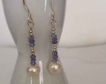 Sterling silver tanzanite and freshwater pearl earrings
