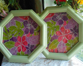 Upcycled, Vintage, Green, Shabby Chic, Picture Frames, Hand Painted, Fabric Background