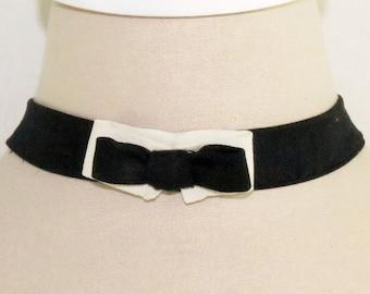 Black and Ivory Peace Silk Bow Tie Choker/Hairband