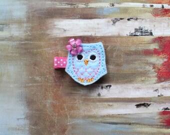 Baby / Toddler / Girl Hair Clips, Light Blue Owl Hair Clip