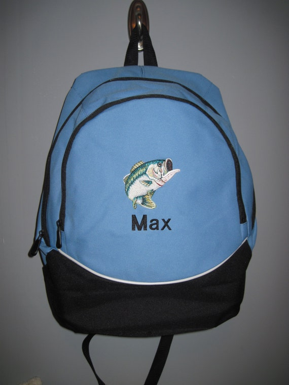 Large mouth bass fish fishing personalized by strgembroidery for Bass pro fishing backpack