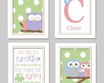 Nursery Quad, Pink and Green Nursery, Owl Nursery, Set of 4 8X10, Pink, Green, Blue