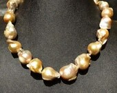 Genuine Pearl Necklace Huge 20 MM Baroque Vintage Natural Color