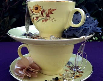 SALE**2 Tiered Tea Cup Jewelry Stand
