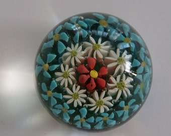 Old Crystal Millefiori Glass Paper Weight