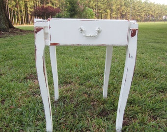 Shabby decor side table, nightstand,vintage side table, end table,table.furniture,shabby chic decor,white table
