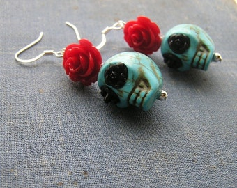 Day of the Dead Earrings Wedding Bride Bridal Bridesmaid Gothic Wedding Red roses Blue skulls