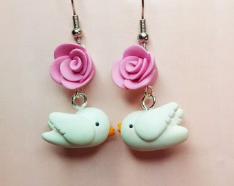 Polymer clay earrings Dove with Rosa, where bird