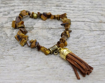 CLEARANCE Boho - tiger eye bracelet, july birthstone, tassel bracelet, healing gemstone, gemstone bracelet, lucky jewelry, healing bracelet