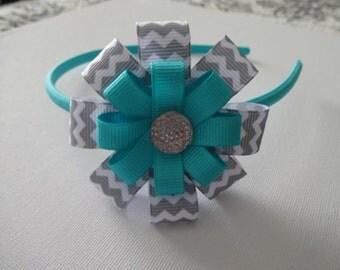 Turquoise with gray and white chevron headband, Chevron Headband, Turquoise Headband, Chevron Gray Headband
