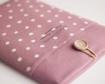 "13 inch Macbook Pro, Retina, Air case, 13"" Custom Laptop Laptop sleeve / Polka Dot Dusty Pale Pink"