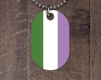 Genderqueer Pride Flag Dog Tag