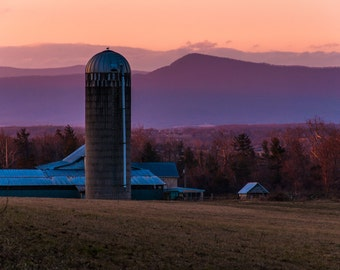 Barn and silo on a farm in the Shenandoah Valley at sunset, Virginia  - Rural Landscape Photography Fine Art Print or Wrapped Canvas