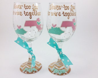 FREE SHIP ON 7 Plus Set Of 2 State to State Country Wine Glass Chevron Personalized Birthday Best Friend Long Distance